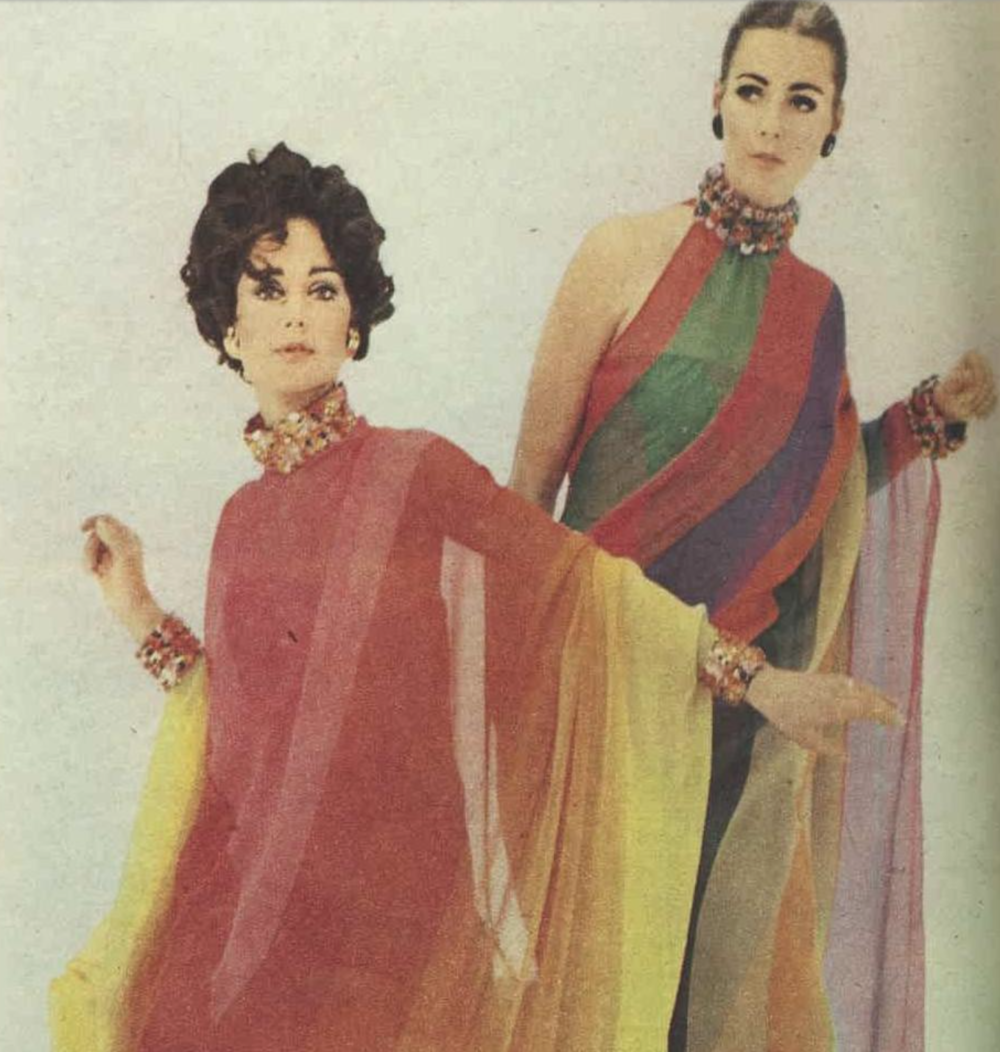 Floating Effect - 1967 Dior's delicate, floating chiffons printed in multi-colors…featuring jeweled dog-collars and cuffs and one bare shoulder is glimpsed in the striped gown.