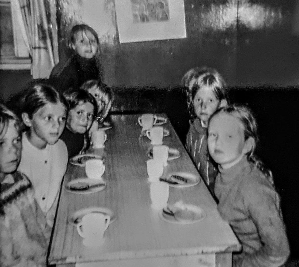 1970 f.v. Valdís, Jóhanna, Auður, Drífa, Harpa, Sigga, Kristín Sif. Mynd: Olga Sverrisdóttir