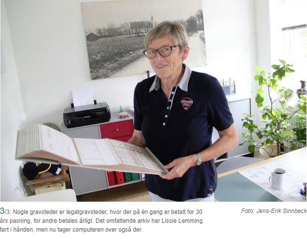Lissie Lemming.  Myndin fylgir viðtali við hana í Midtjyllands Avis árið 2016, þegaar hún lét af störfum fyrir kirkjuna í Låsby eftir 40 ára starf.