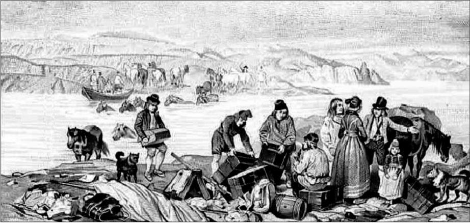 Mynd Auguste Mayer frá 1835 af Iðuhamri. Greina má Launrétt ofarlega hægra megin.