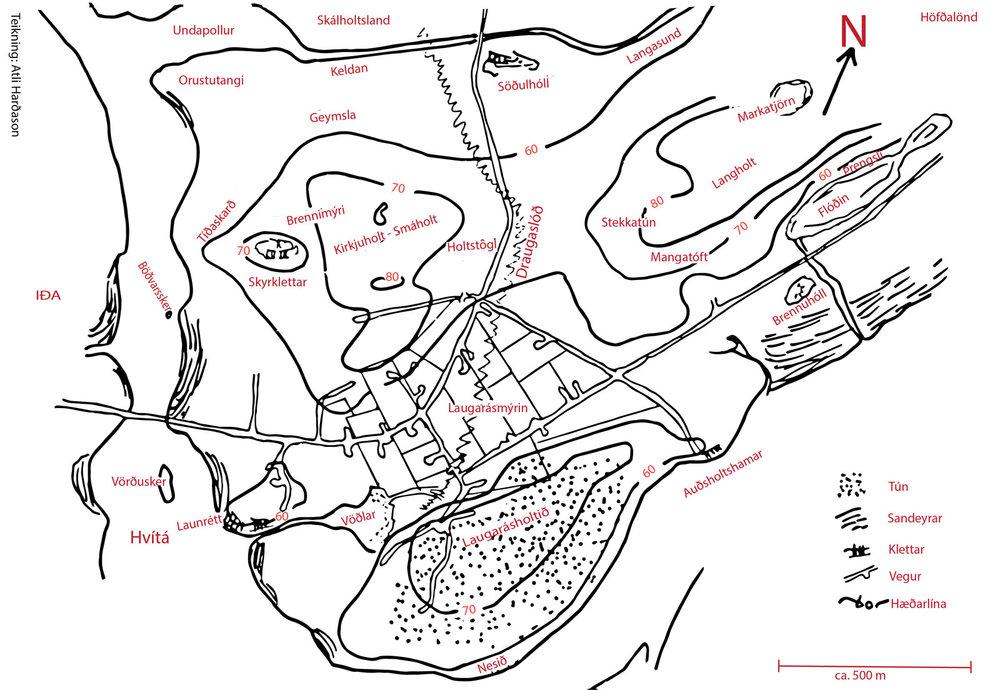 Teikning Atla Harðarsonar, en hún fylgdi grein Bjarna í Árnesingi. Páll M. Skúlason færði örnefni inn að nýju og bætti tveim við: Böðvarsskeri og Brennuhól.