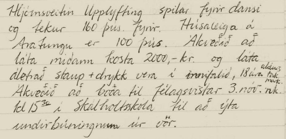 Úr fundargerð 2003. Elinborg Sigurðardóttir ritaði.