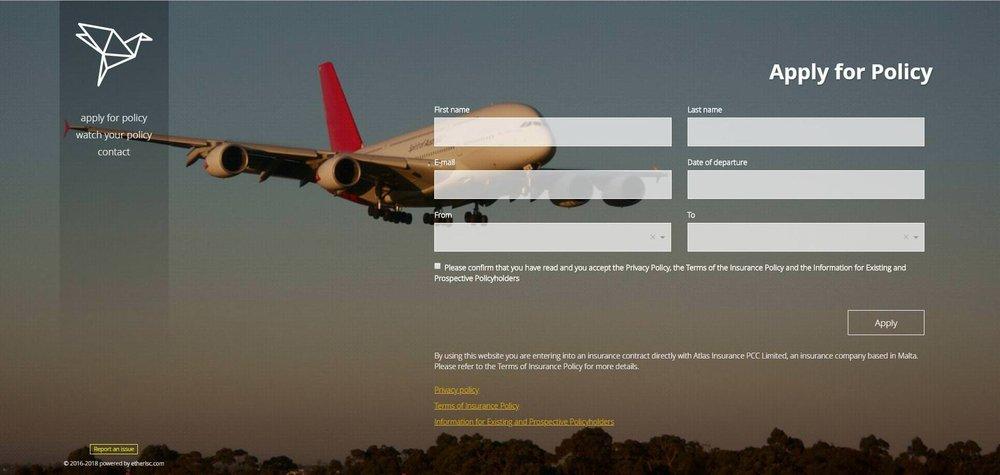 Etherisc's Flight Insurance product