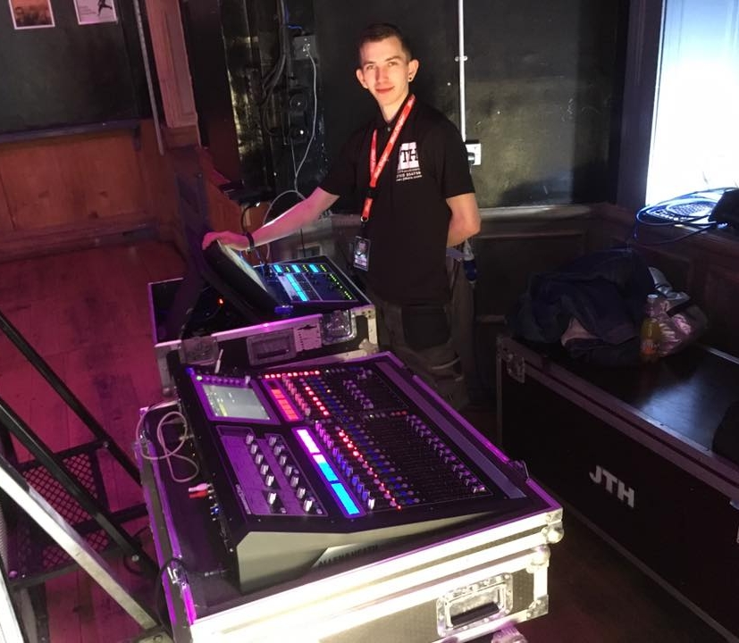 James working on Front of House duties at the 02 Arena in Leicester for Handmade Festival 2107. Allen & Heath GLD-80 Sound Desk with Chamsys MagicQ LightingConsole