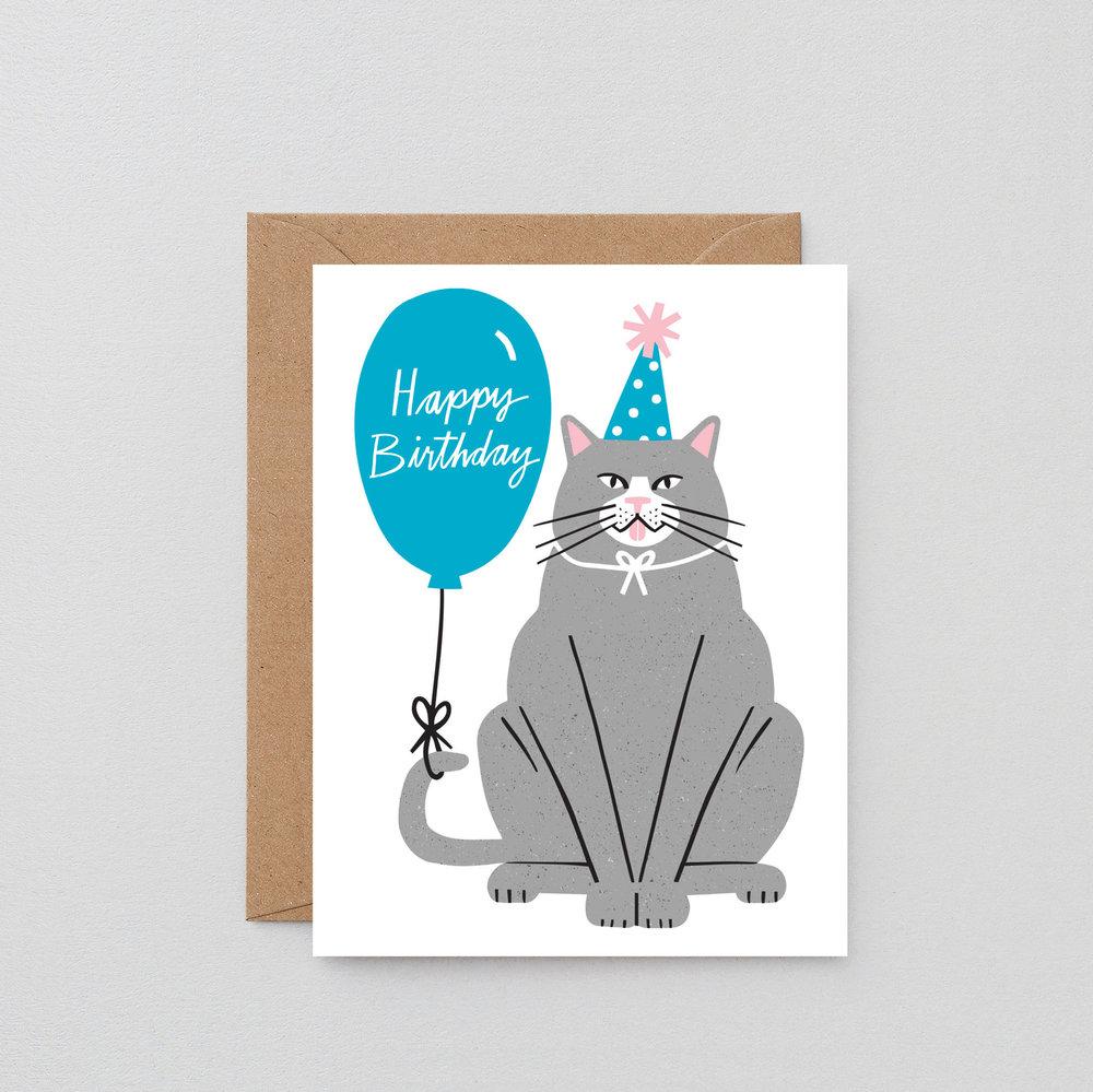 Birthday Cat Greeting Card Wrap