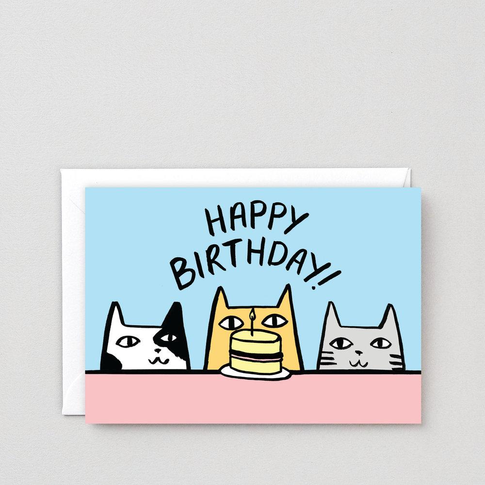 Happy Birthday Cats Greeting Card Wrap