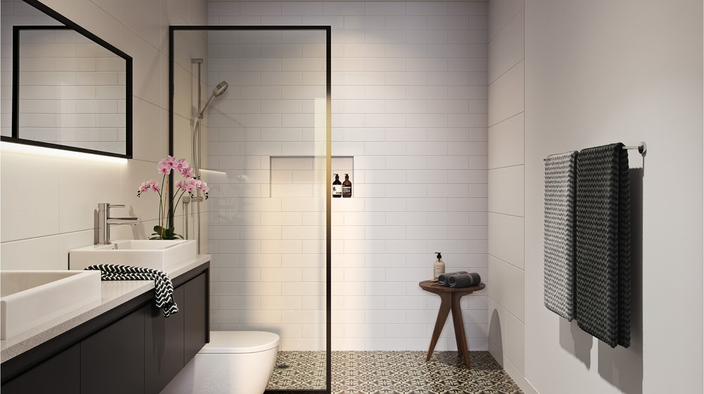 BATHROOM CHARM - Luxurious, spacious and practical, each bathroom features slimline vanities, stone bench tops, designer Braga tiled floors, recessed shower niches, elegant slimline tapware and matching accessories, creating a beautiful symmetry and strong clean lines.