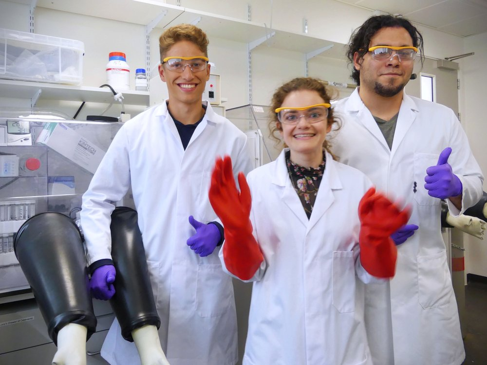 From left: Sam, me, and Esteban looking stylish yet safe in our laboratory gear.