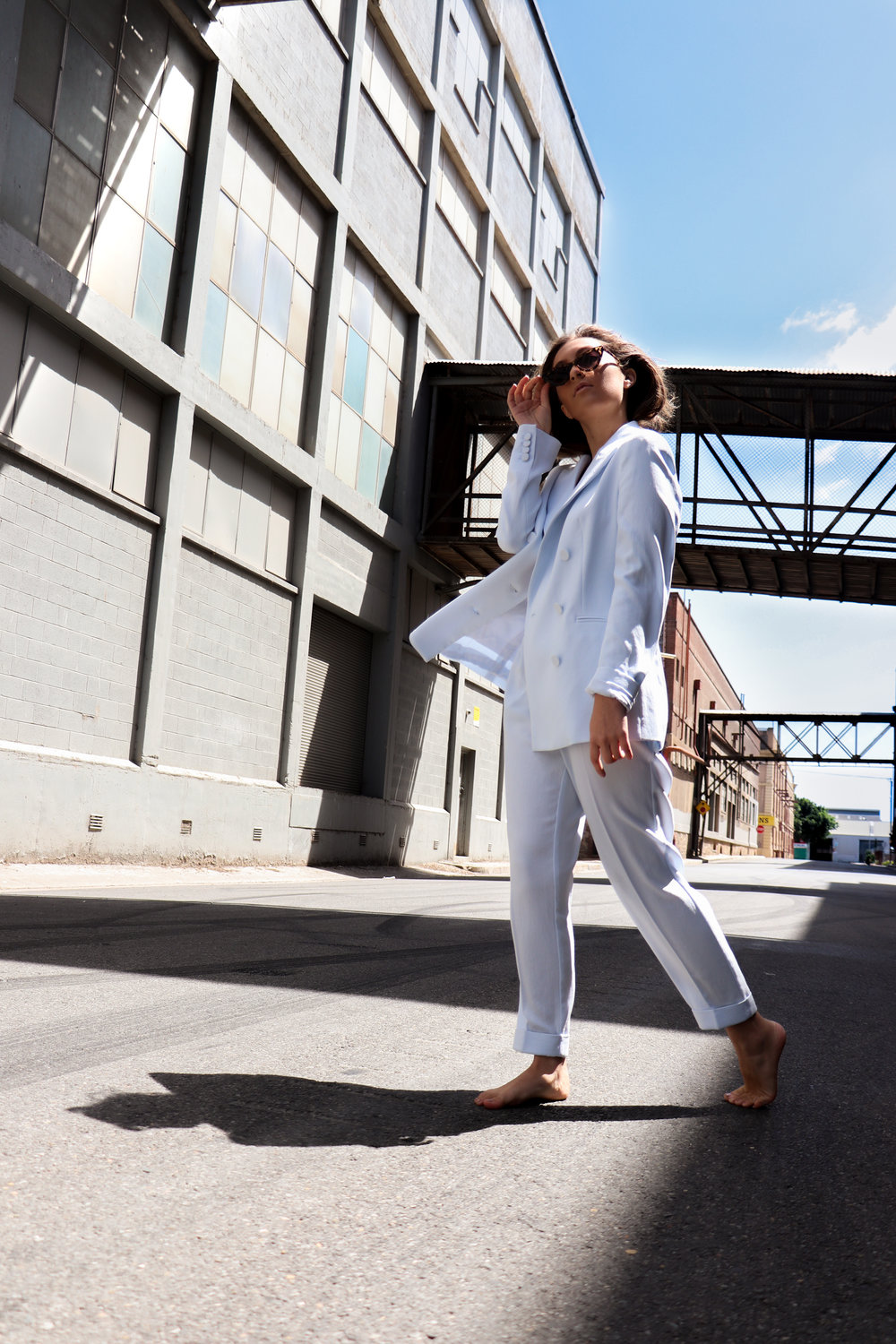 Witchery  Relaxed Blazer  $279.95 and  Pleat Front Pant  $149.95 Model: Yasmin Cinelli
