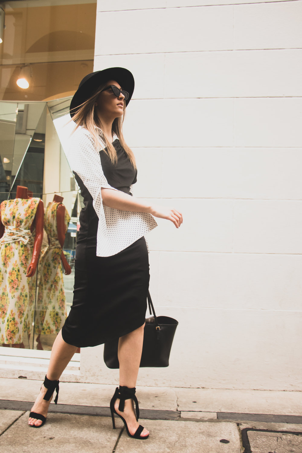 Outfit Details: dress: Keepsake, bag: Michael Kors, shoes: Windsor Smith, shirt: Maurie and Eve and hat: Sportsgirl