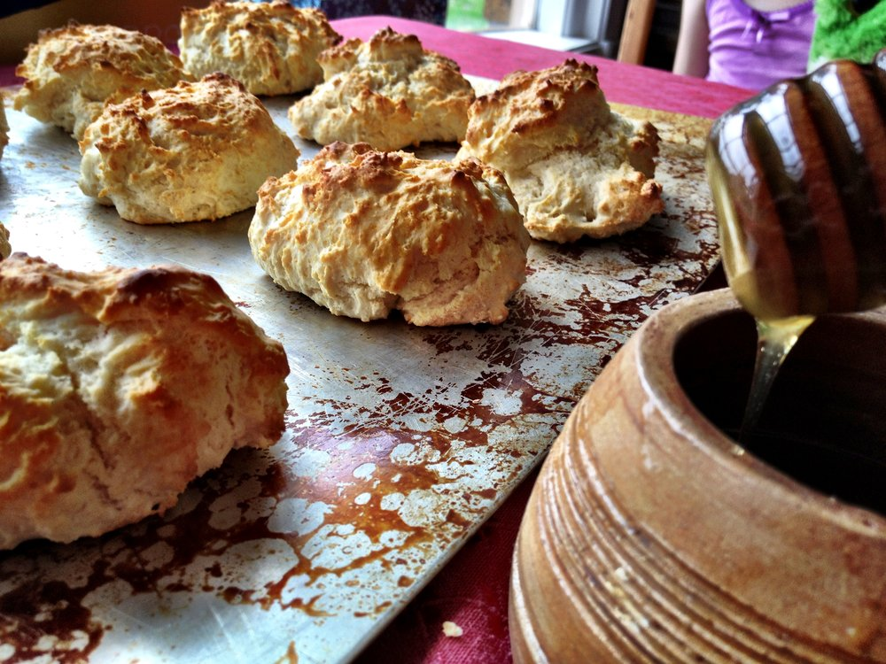 My brother-in-law's from scratch biscuits with local honey . . . divine!