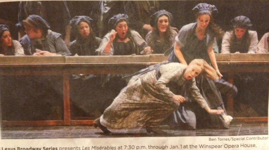 As the Factory Girl, beating up Betsy Morgan as Fantine