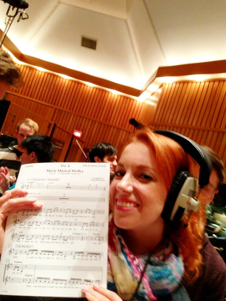 Recording the Oscars performance Les Mis track at Capital Records