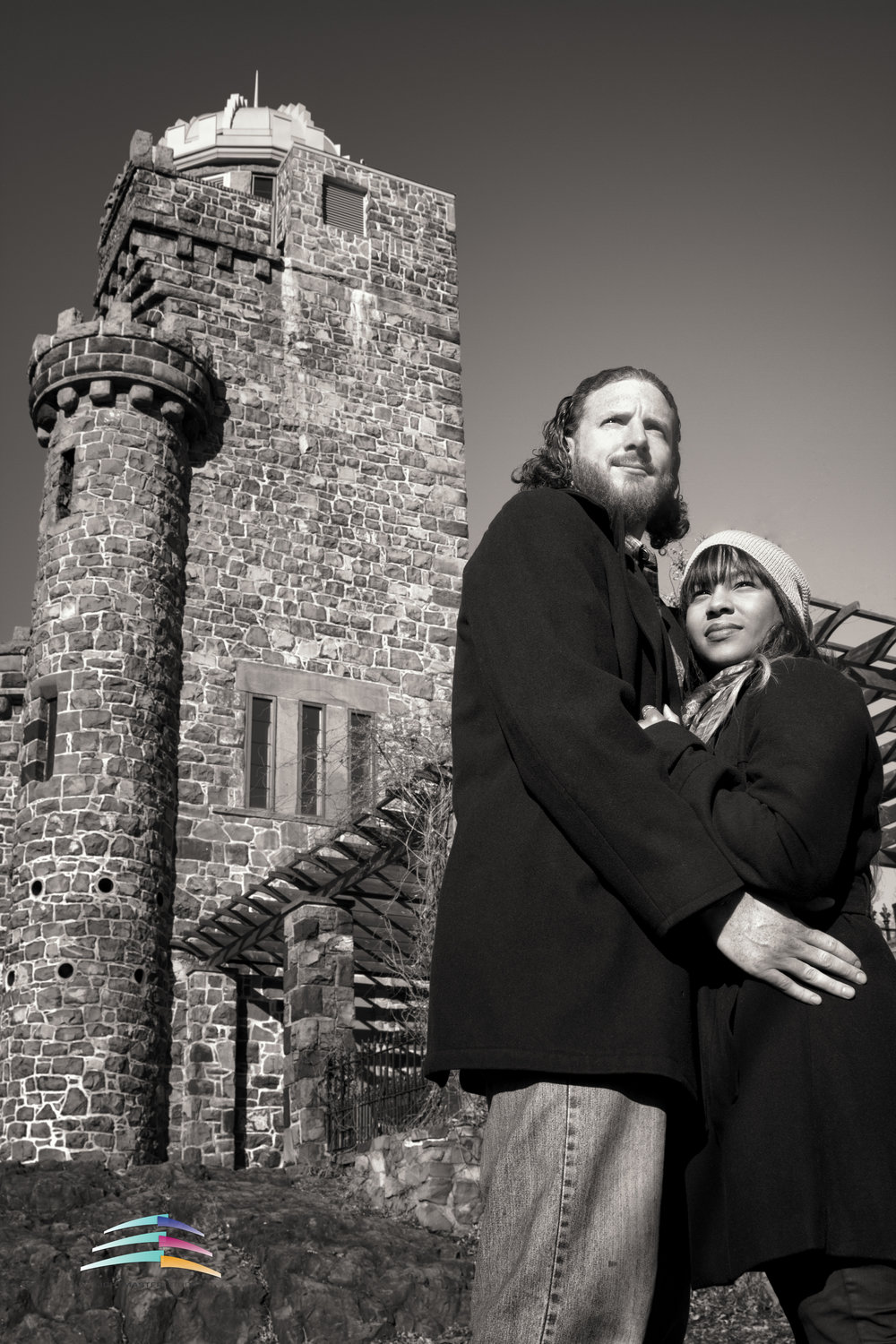 Engagement-session-mixed-couple-black-&-White-image-december-shoot-ideas-Castle-new-jersey i do bridal, i do i do bride engagement session