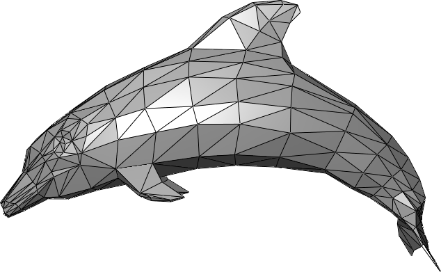 Example where polygons form a three-dimensional representation of a dolphin. Source:  Wikipedia )