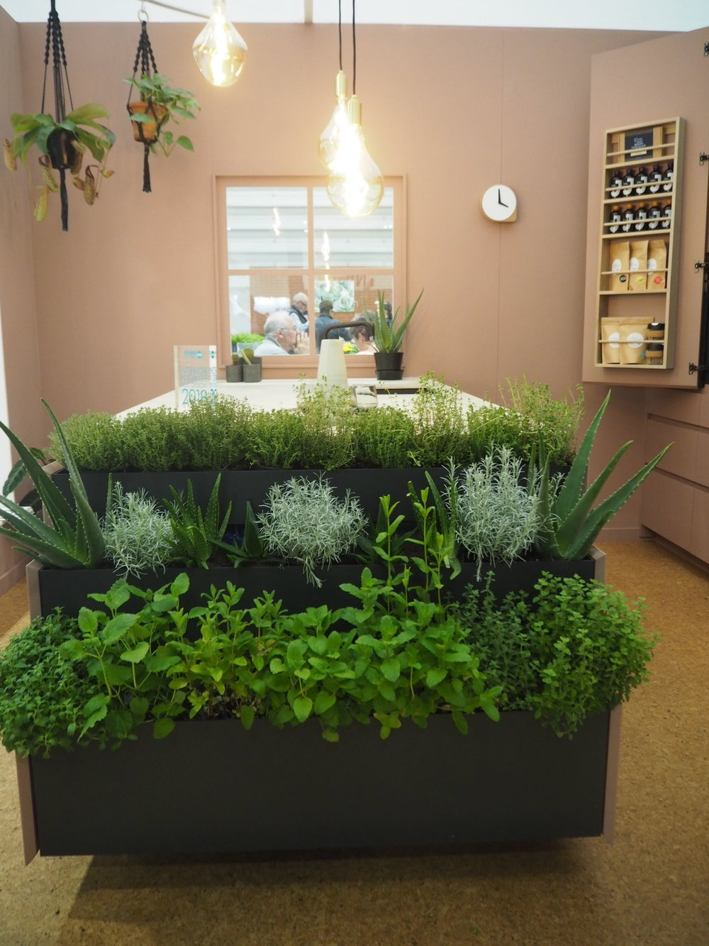 The herb garden and cork flooring