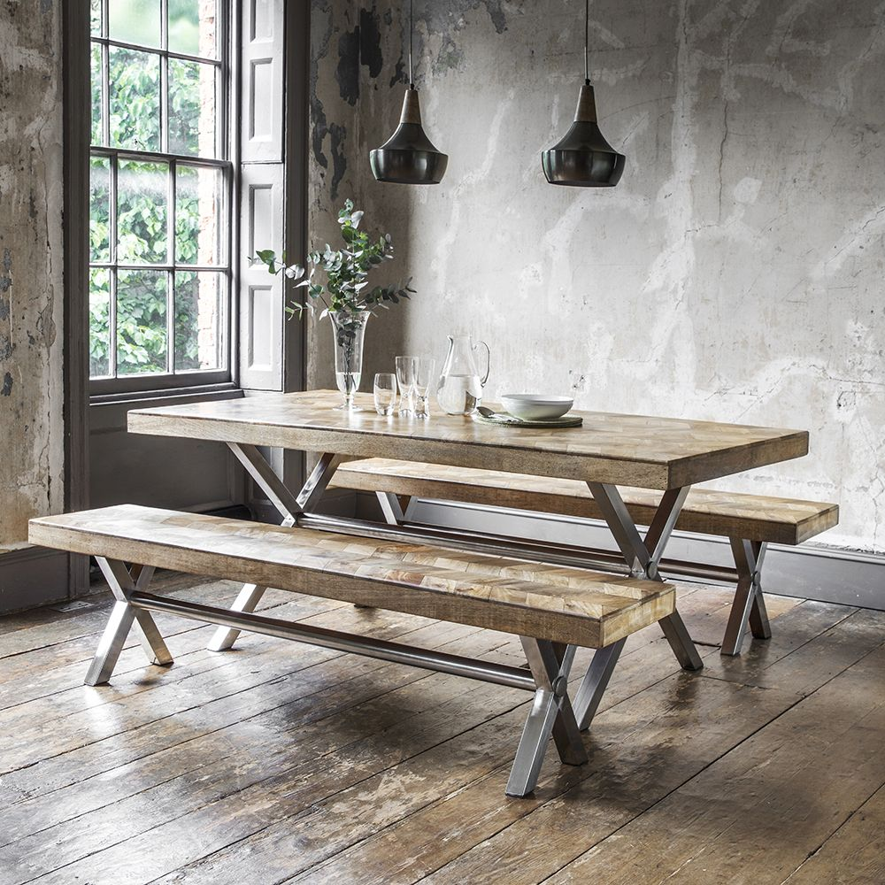A herringbone style table, complete with benches -  www.atkinandthyme.co.uk