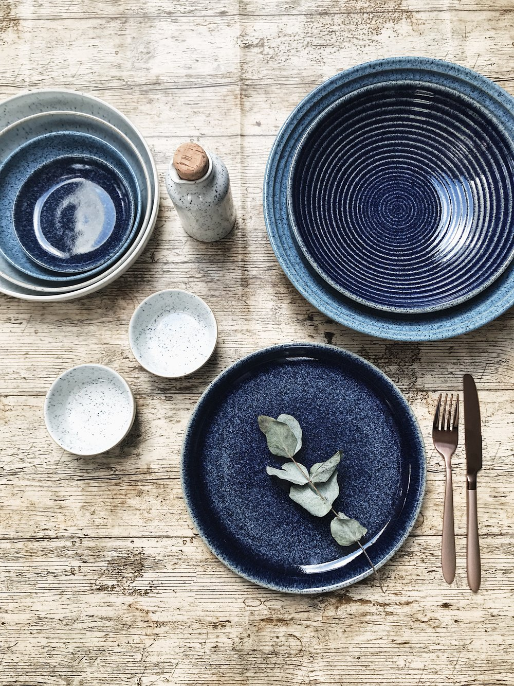 The beautiful  Studio Blue  collection by  Denby Pottery