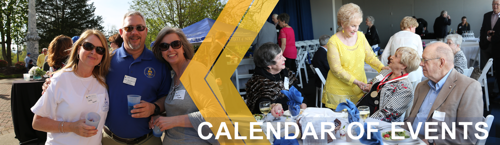Calendar of Events page banner: First image shows Alumni Association members holding University of North Georgia cups while posing for a photo. The second image shows alumni members of the class of 1958 talking to each other during a reunion.