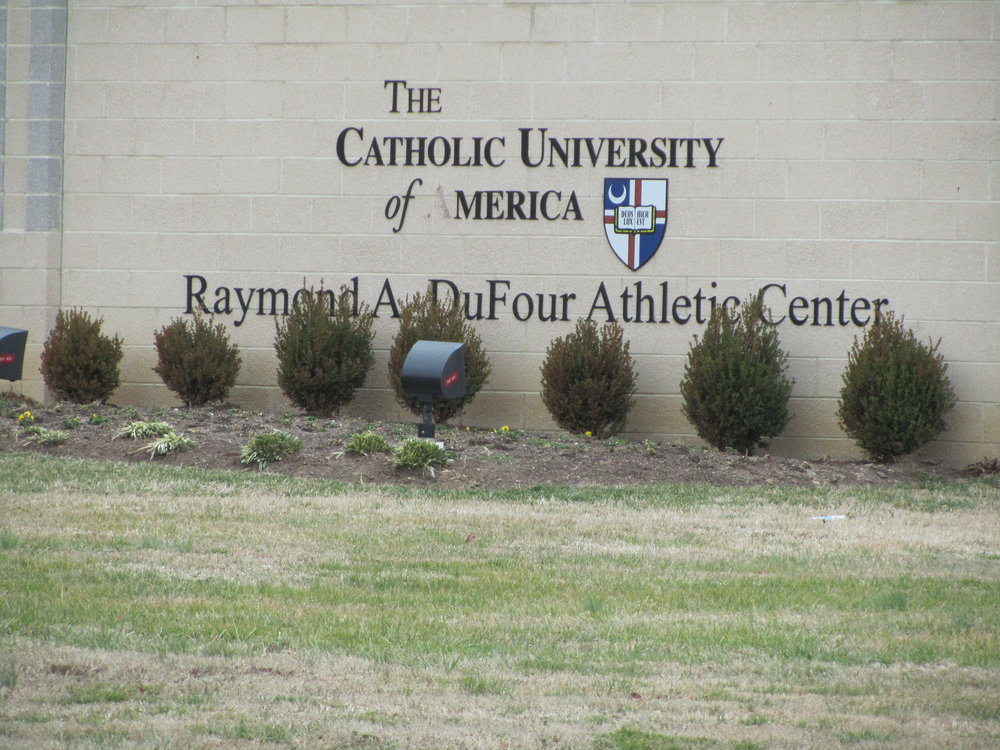 Image of the sign located on the campus of The Catholic University. Sign reads 'The Catholic University of America. Raymond A DuFour Athletic Center