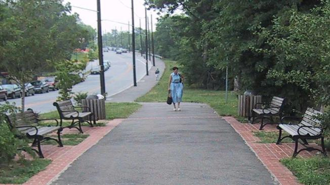 Image of Woman Walking on Paved Path Between Benches
