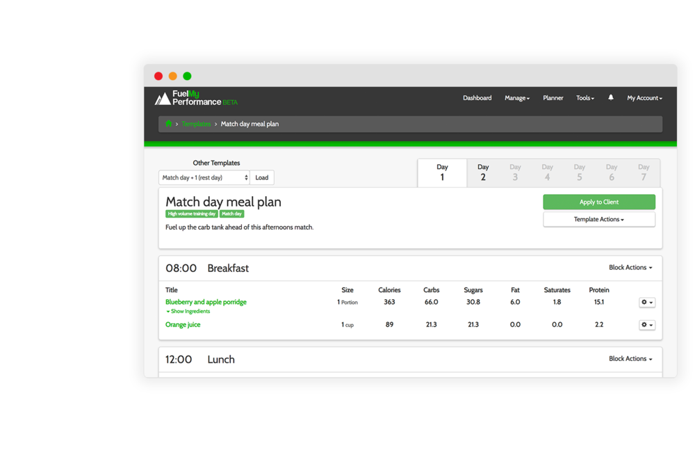 Automated meal planning - Use our clean and simple interface to build meal plans. Set the 'type of day' and allow your athletes to find meal plans themselves suitable for training days, rest days or competition.