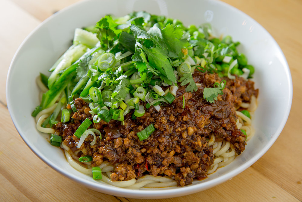Minced Pork Noodles with Greens