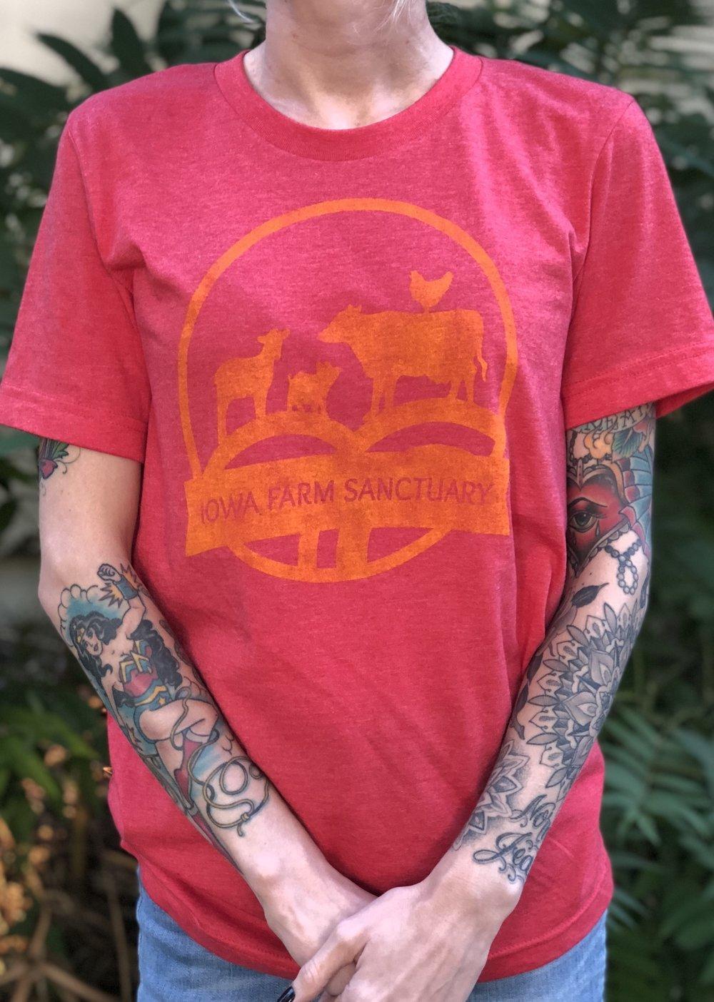 Light Red Gold Distressed Ifs Logo T Shirt Iowa Farm Sanctuary