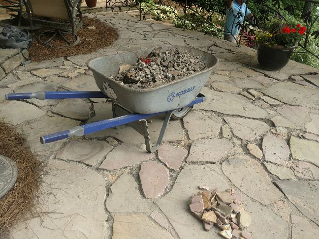 Patio repairs being made