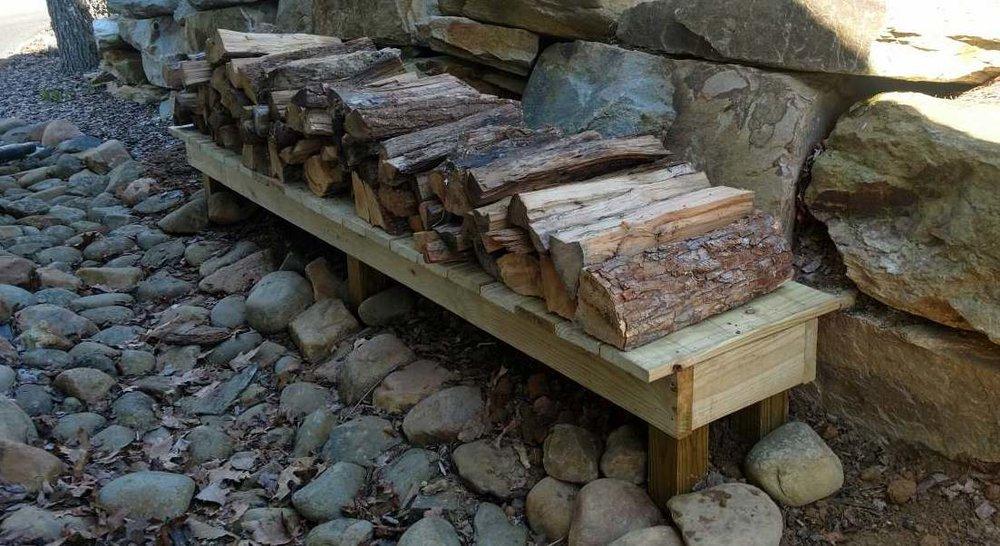 Firewood storage shelf