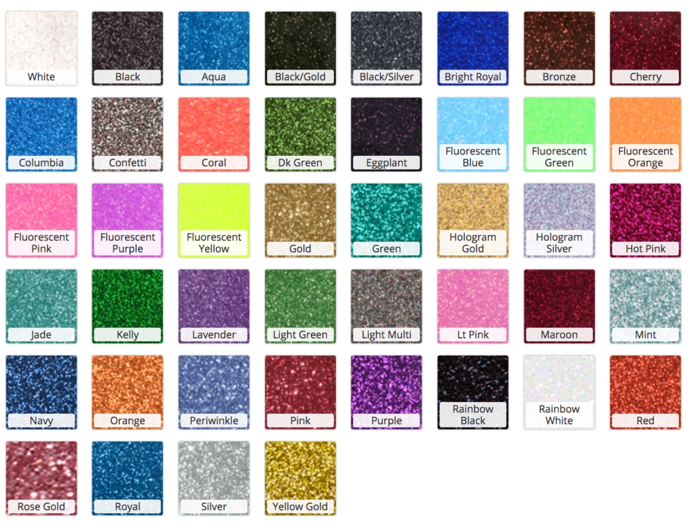 Glitter Flake Vinyl Color Options