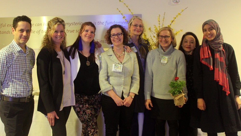 2018 Conference, left to right: Carlos Mattei, Cynthia Barber Gale, Sadie Francis, Vera Neumann-Sachs, Helena van Vliet, Fredda Lippes, Marjorie Lau, Maram Moushmoush