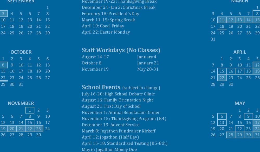 Academic Calendar - 2018–2019