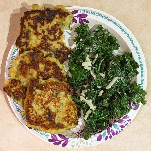 Do you have leftover mashed potatoes comin' out your ears? Make mashed potato pancakes!! They're SO FRICKIN GOOD and so simple! I've been keeping dinner quick and easy recently so I can focus on some other things during weekday evenings. Obviously, we must also upkeep the classiness with the finest China available. Btw, a yummy kale salad with store bought Caesar dressing is the perfect companion to any dinner! #dinnerideas #easydinner #leftovermashedpotatoes #kalesalad #allaboutbalance #yummyfood