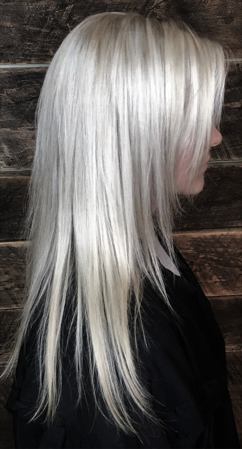 Hair By: Monica P. Watkins Hair Babe Studio Asheville NC  Smoky Frozen Blonde  Ashe is in, and this smoke-tinted take on frozen blonde is dreamy.