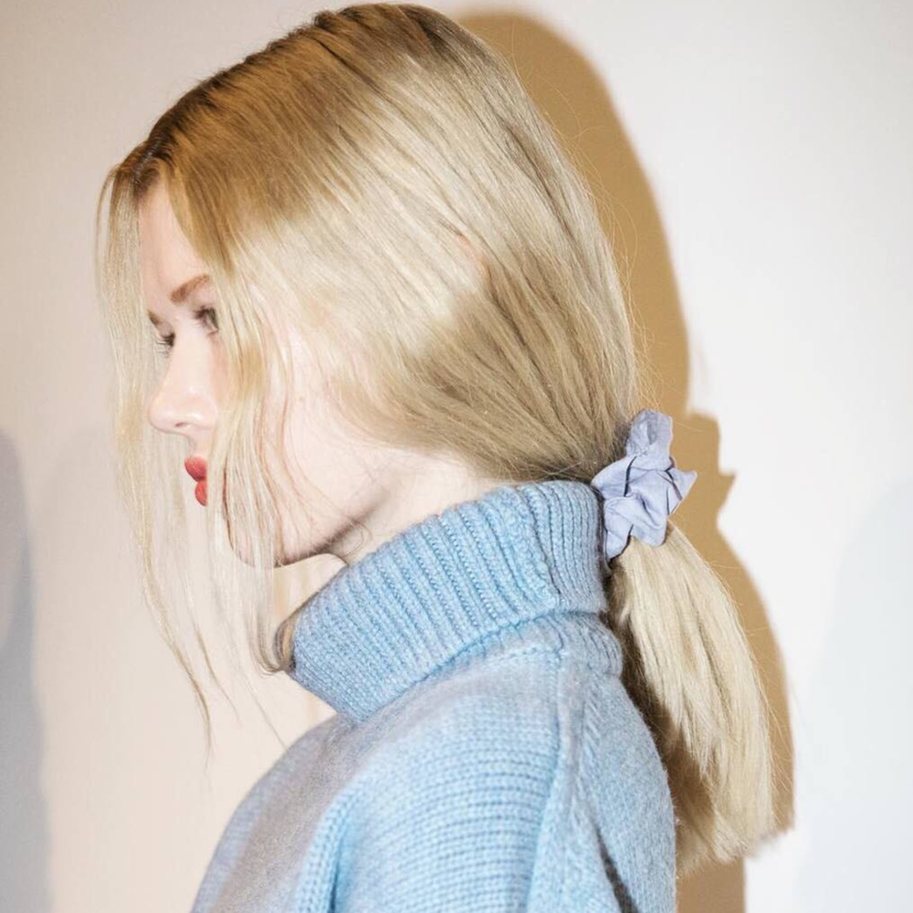 "PHOTO: BUMBLE AND BUMBLE; HAIR BY LAURENT PHILIPPON FOR BUMBLE AND BUMBLE  The ""Oh My God They're Back"" Scrunchies at Mansur Gavriel"