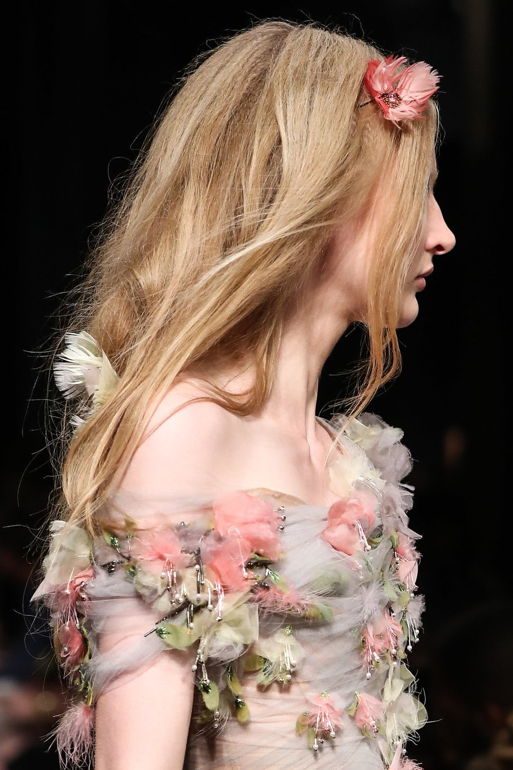 PHOTO: THOMAS CONCORDIA; HAIR BY MOROCCANOIL  The Untidy, Ethereal Waves at Marchesa