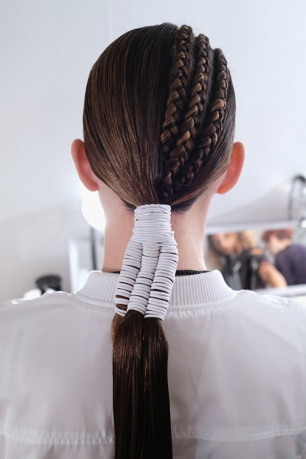 PHOTO: NICHOLAS HUNT; HAIR BY JOSEPH DIMAGGIO FOR DAVINES  The Tri-Ponytails at Hakan Akkaya