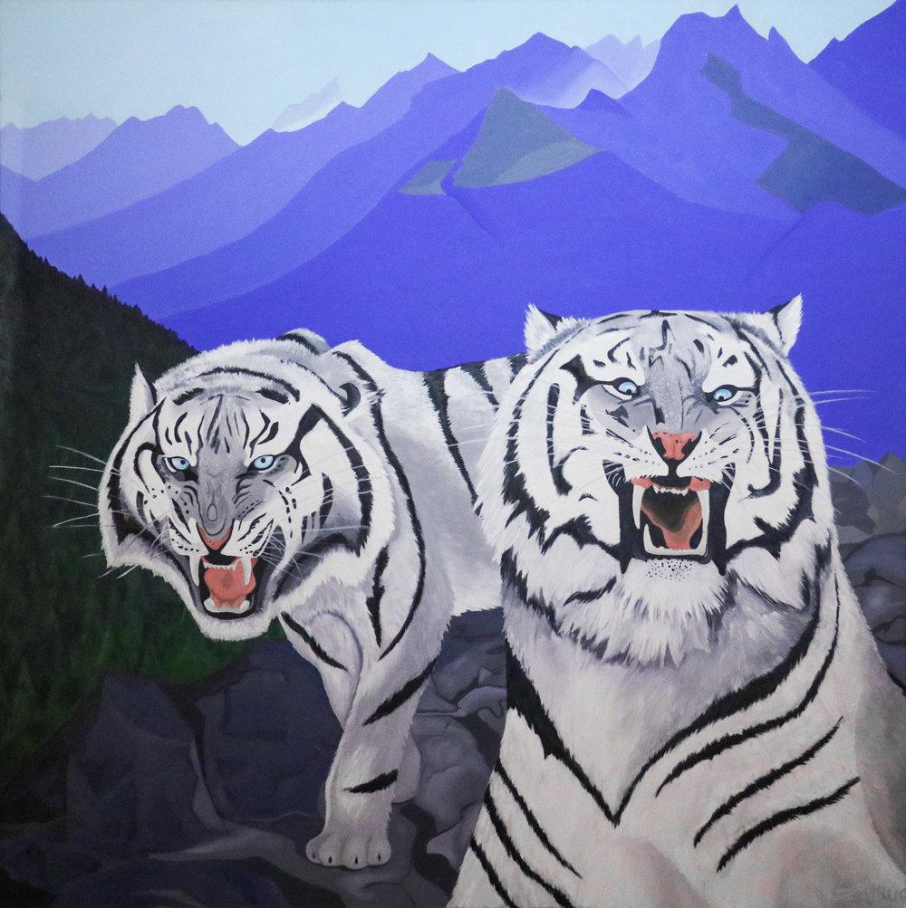 """2010 """"Halt"""" - Zattii 4' x 4'- Oil on Canvas $6500"""