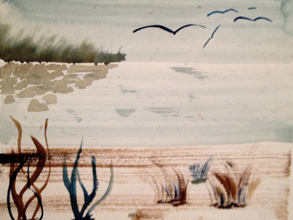 """1994 """"The Beach"""" - Zattii 10"""" x 12"""" - Water Colour -Reserved"""