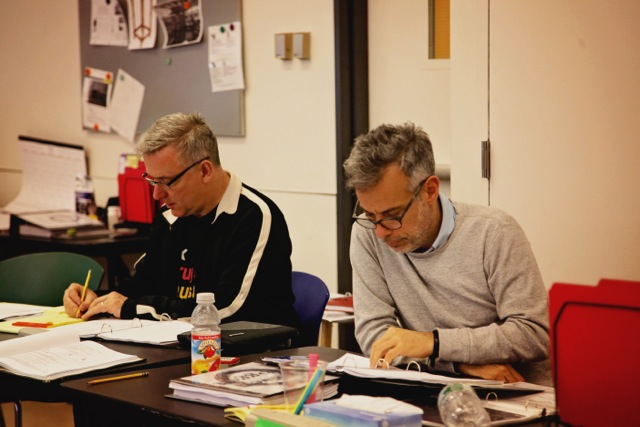 Ben with Joe Mantello during rehearsal for  The Last Ship.  (phote courtest of Shawna Hamic)