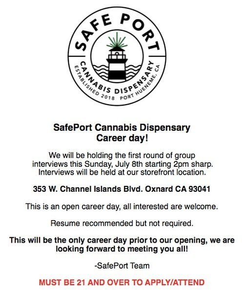 For all of you guys asking about careers at SafePort, now is your time! This Sunday we are conducting open interviews to find the perfect team to open our store with. If you have a love for cannabis and are looking to work for a forward thinking company with some really amazing people, this is the job for you! #safeportcannabis