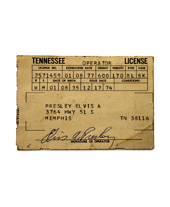 Elvis's Tennessee Drivers License