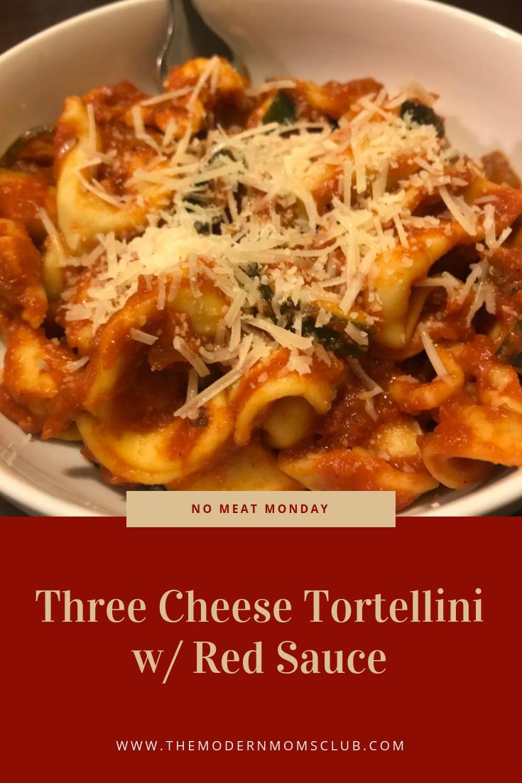 Three Cheese Tortellini with Red Sauce #PastaRecipies #TortelliniRecipies #Pasta