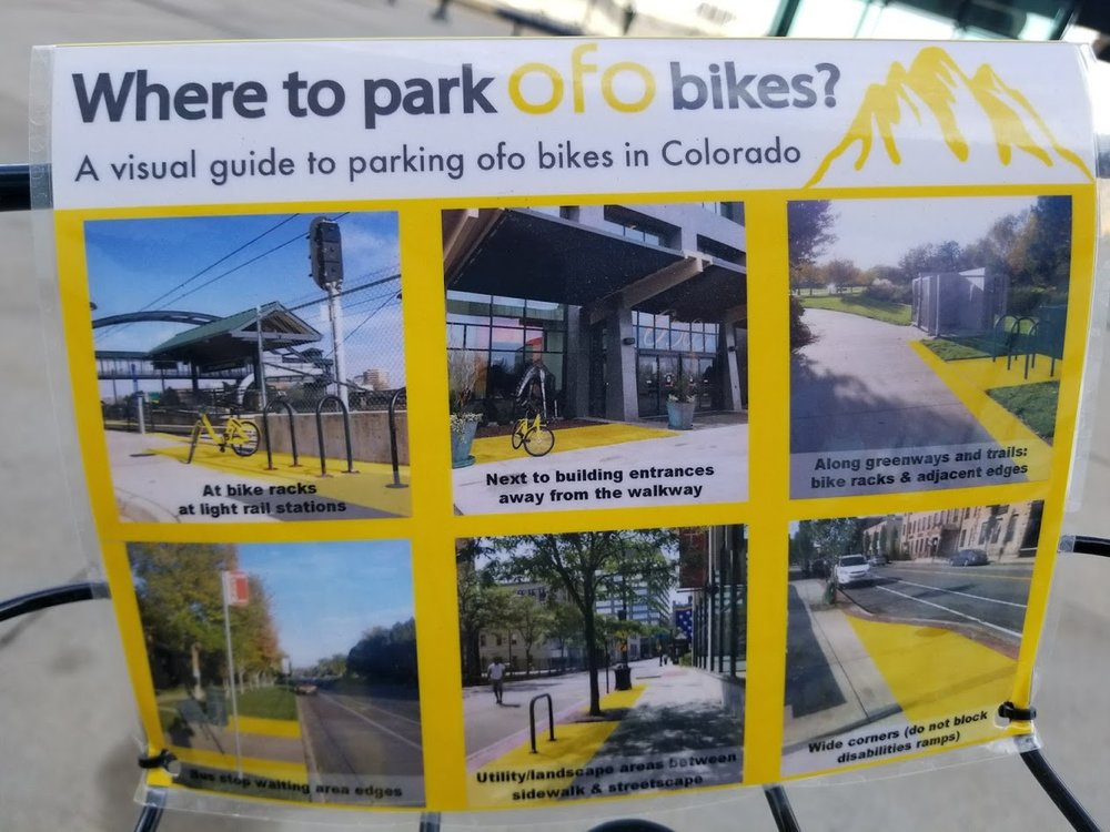 Bike share parking requirements are posted on every Ofo bike. Click image to make larger.