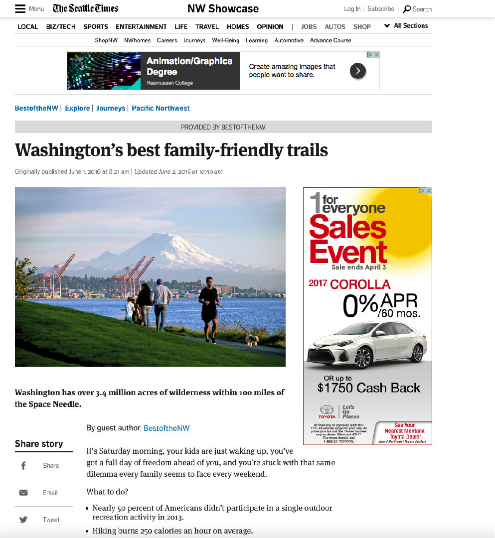 Seattle Times Articles & Videos - Best of the NW Trails online