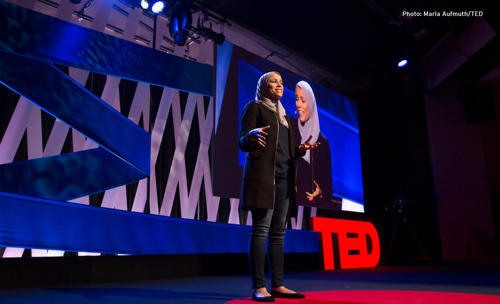 Dr Alaa Murabit on stage for TED Talks
