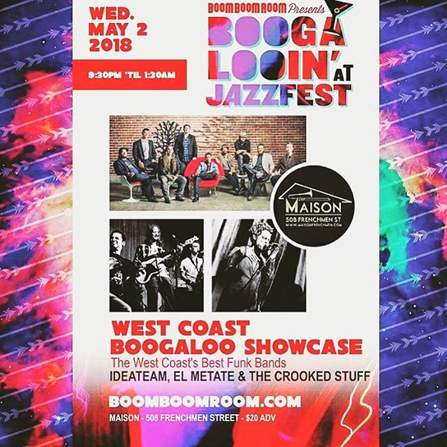GRIS GRIS GUMBO YA-YA. May 2 we're bringing fresh sounds to #NOLA during jazzfest as part of the west coast boogaloo showcase. See you there!