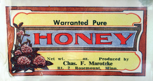 A label from one of Charles Marotzke's jars of honey.