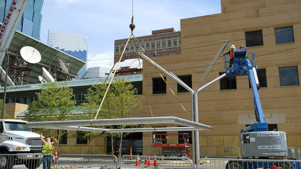 Installation of Ned Kahn's Prairie Tree